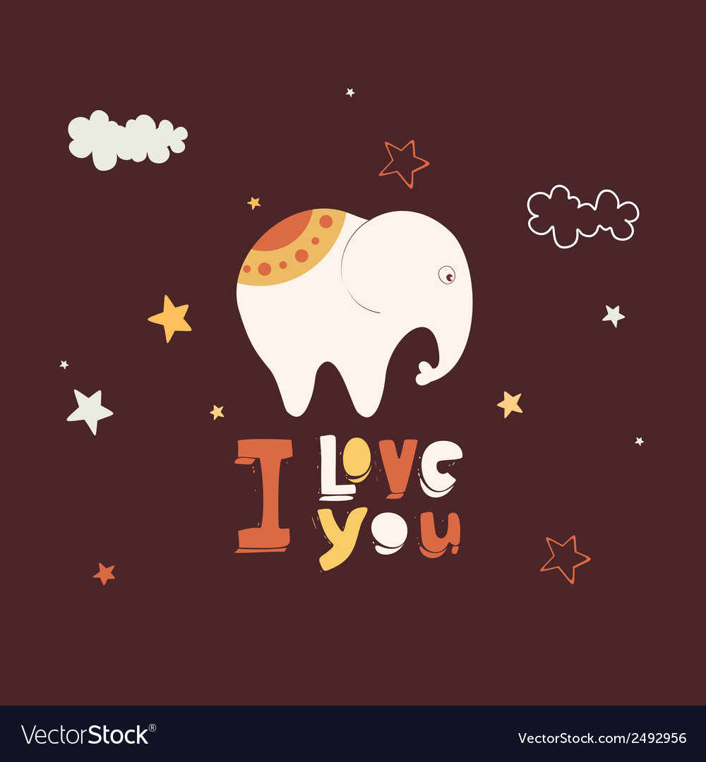 Cute card with elephant vector | Price: 1 Credit (USD $1)