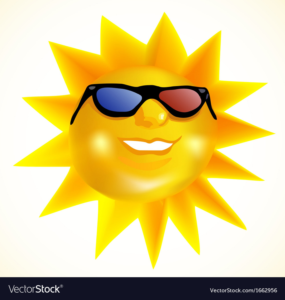 Funky fashionable sun wearing 3d spectacles vector | Price: 1 Credit (USD $1)