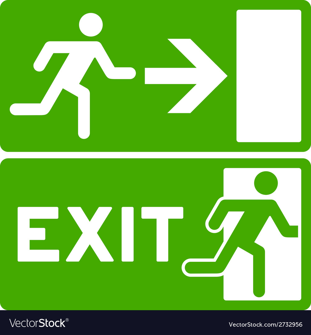 Green exit symbol vector | Price: 1 Credit (USD $1)