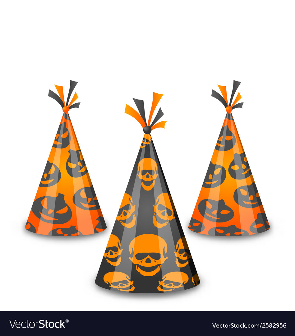 Halloween party hats isolated on white background vector | Price: 1 Credit (USD $1)