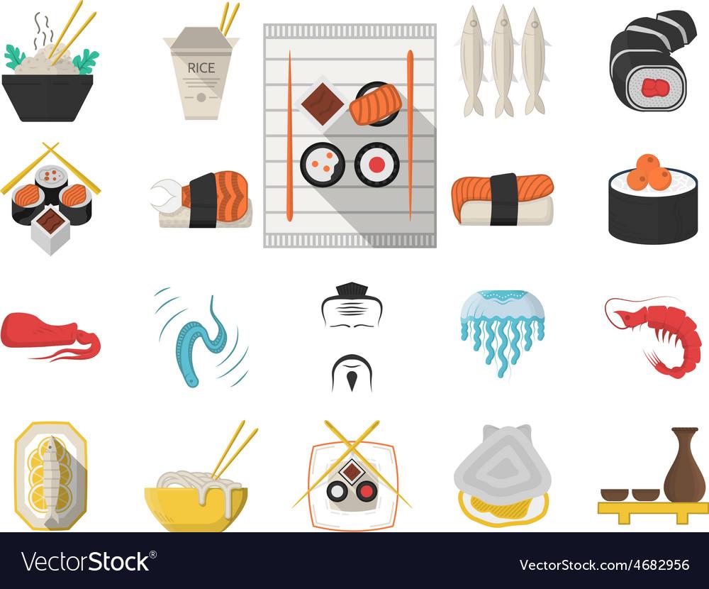 Japanese seafood menu flat icons vector | Price: 1 Credit (USD $1)