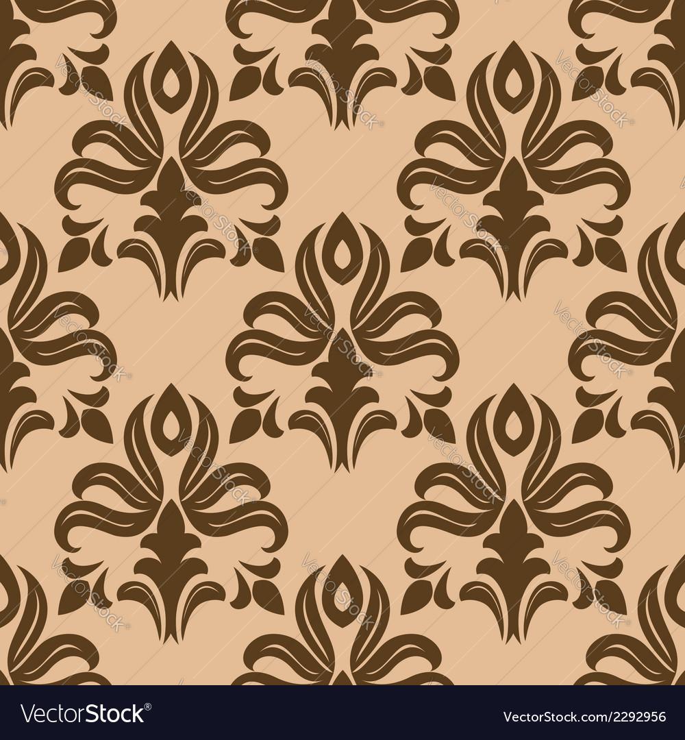 Modern foliate brown and beige arabesque pattern vector   Price: 1 Credit (USD $1)