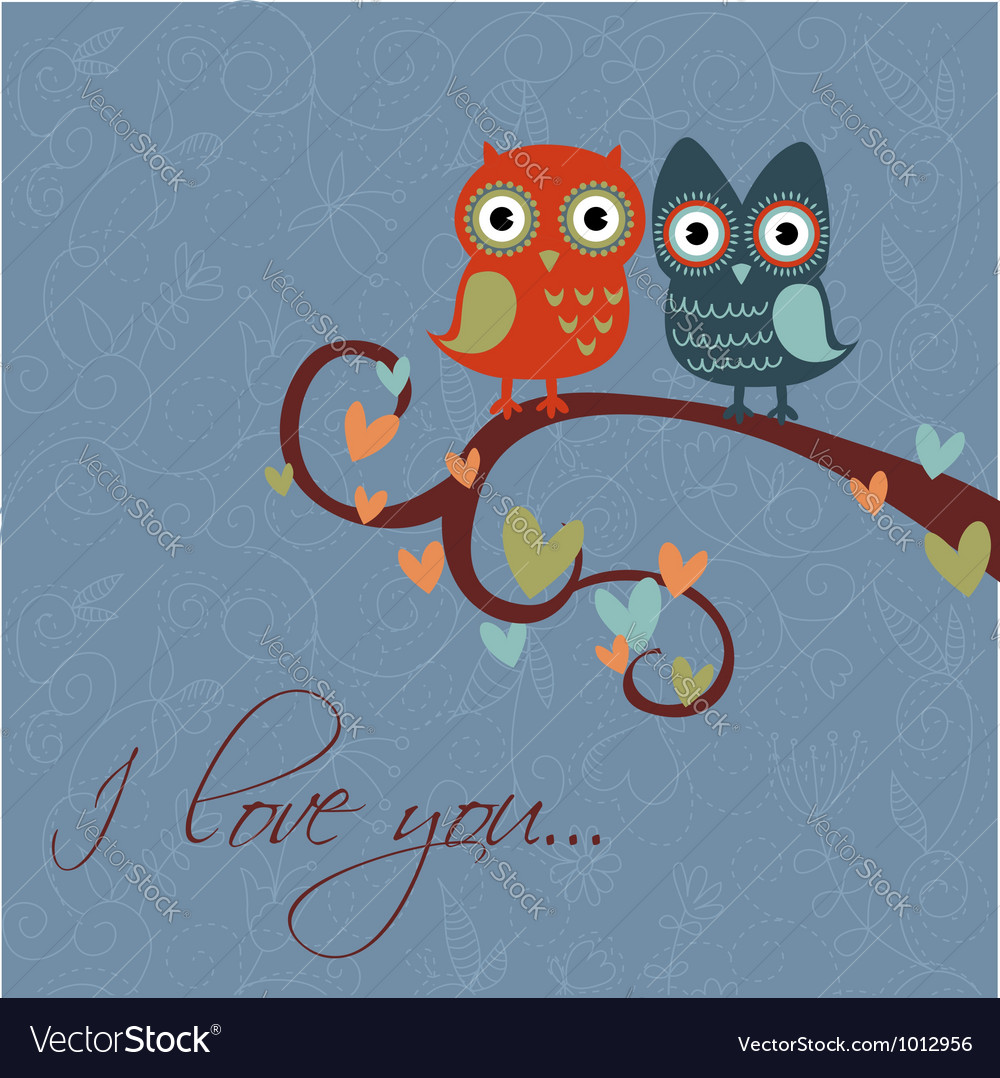 Owls together darkblue vector | Price: 1 Credit (USD $1)