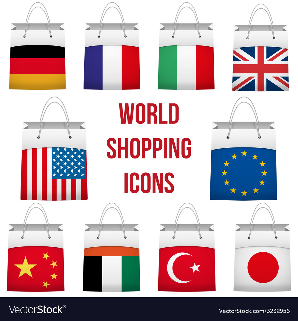 Set shopping bag with flag of different country vector | Price: 1 Credit (USD $1)