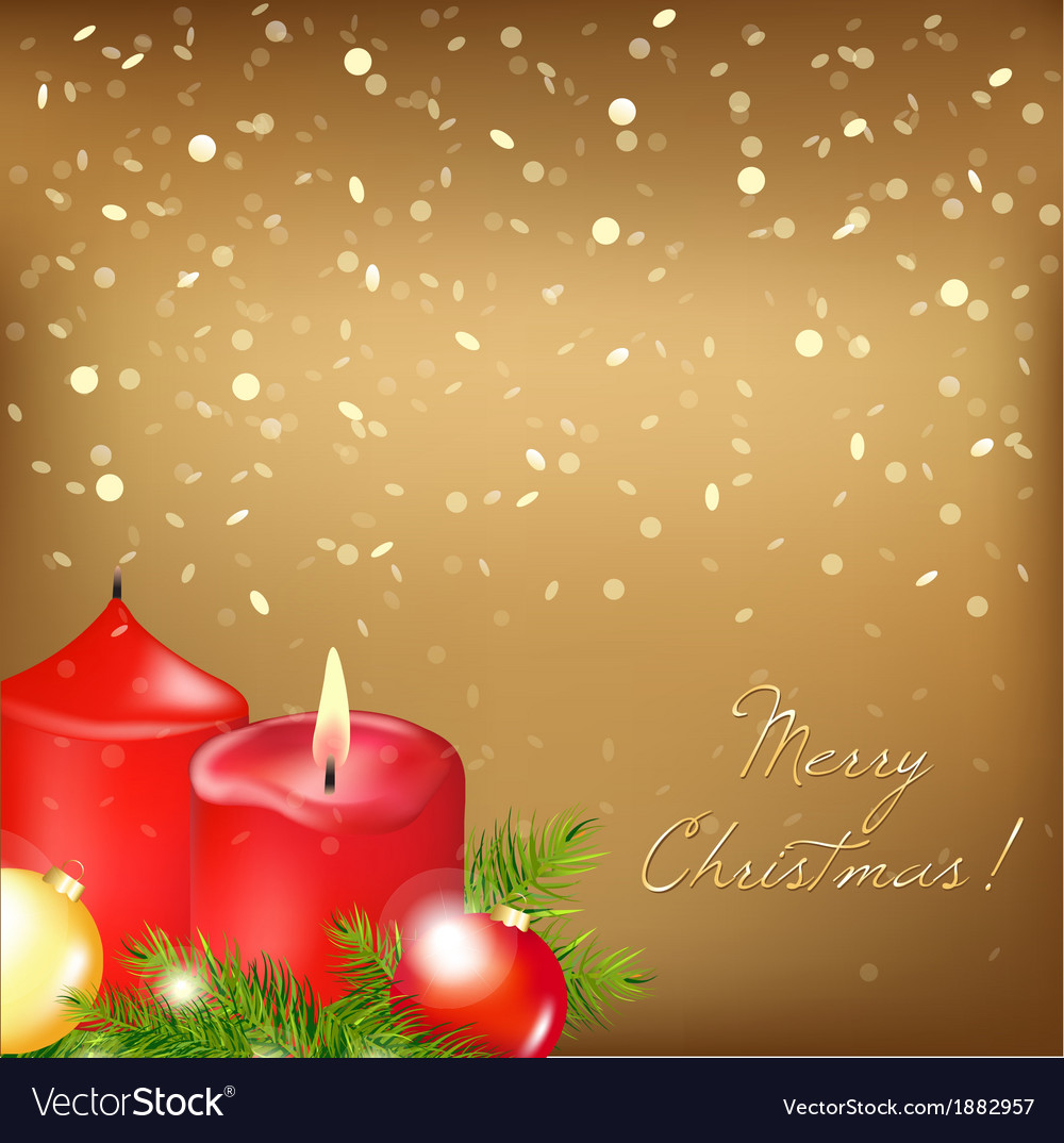 Gold christmas card with red candle vector | Price: 1 Credit (USD $1)