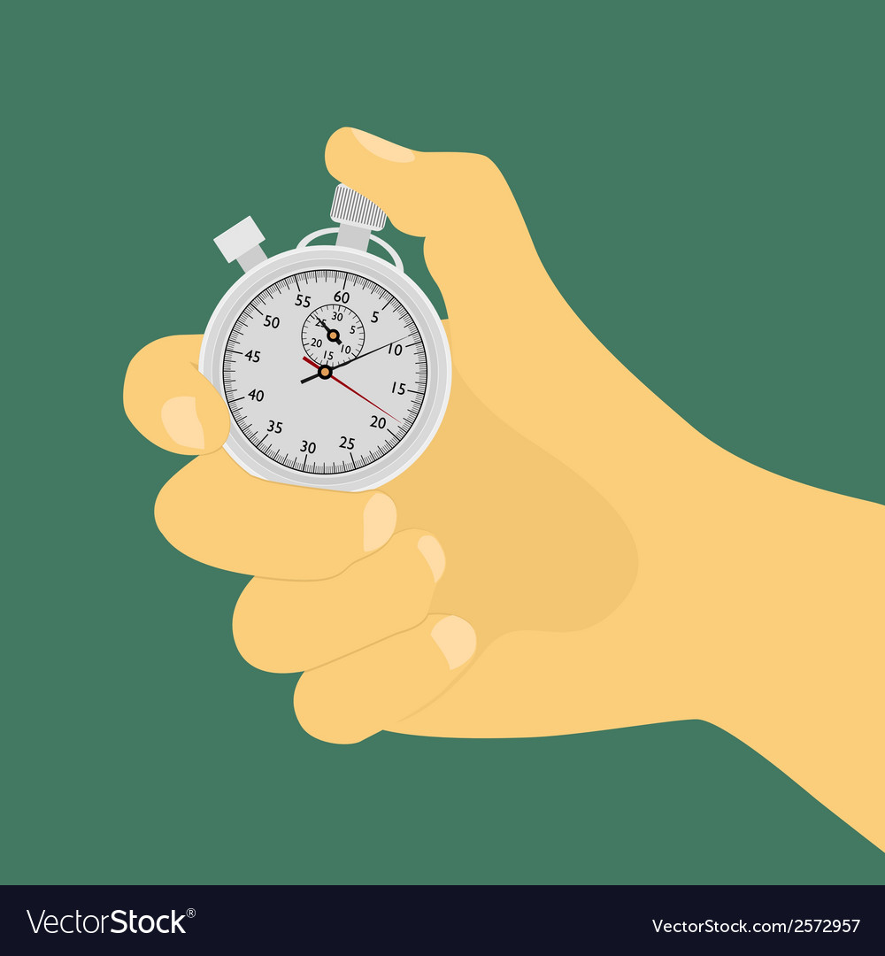 Hand with stop watch vector | Price: 1 Credit (USD $1)