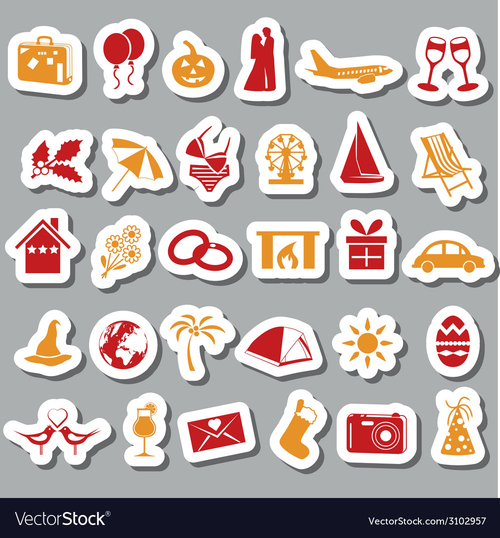 Holiday and events stickers vector | Price: 1 Credit (USD $1)