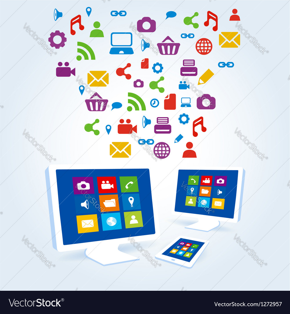 Media social icon copmutre desktop table pc vector | Price: 3 Credit (USD $3)