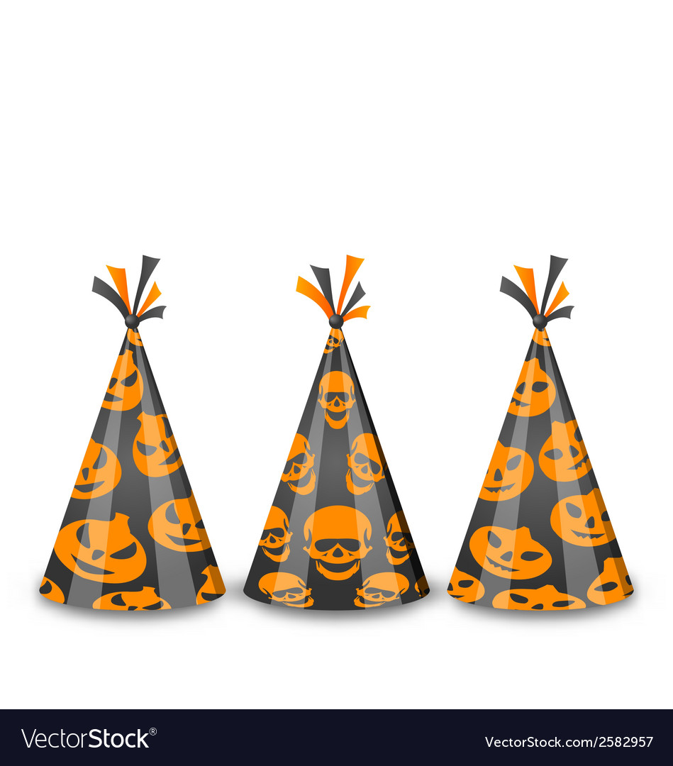 Party hats for halloween isolated on white vector | Price: 1 Credit (USD $1)