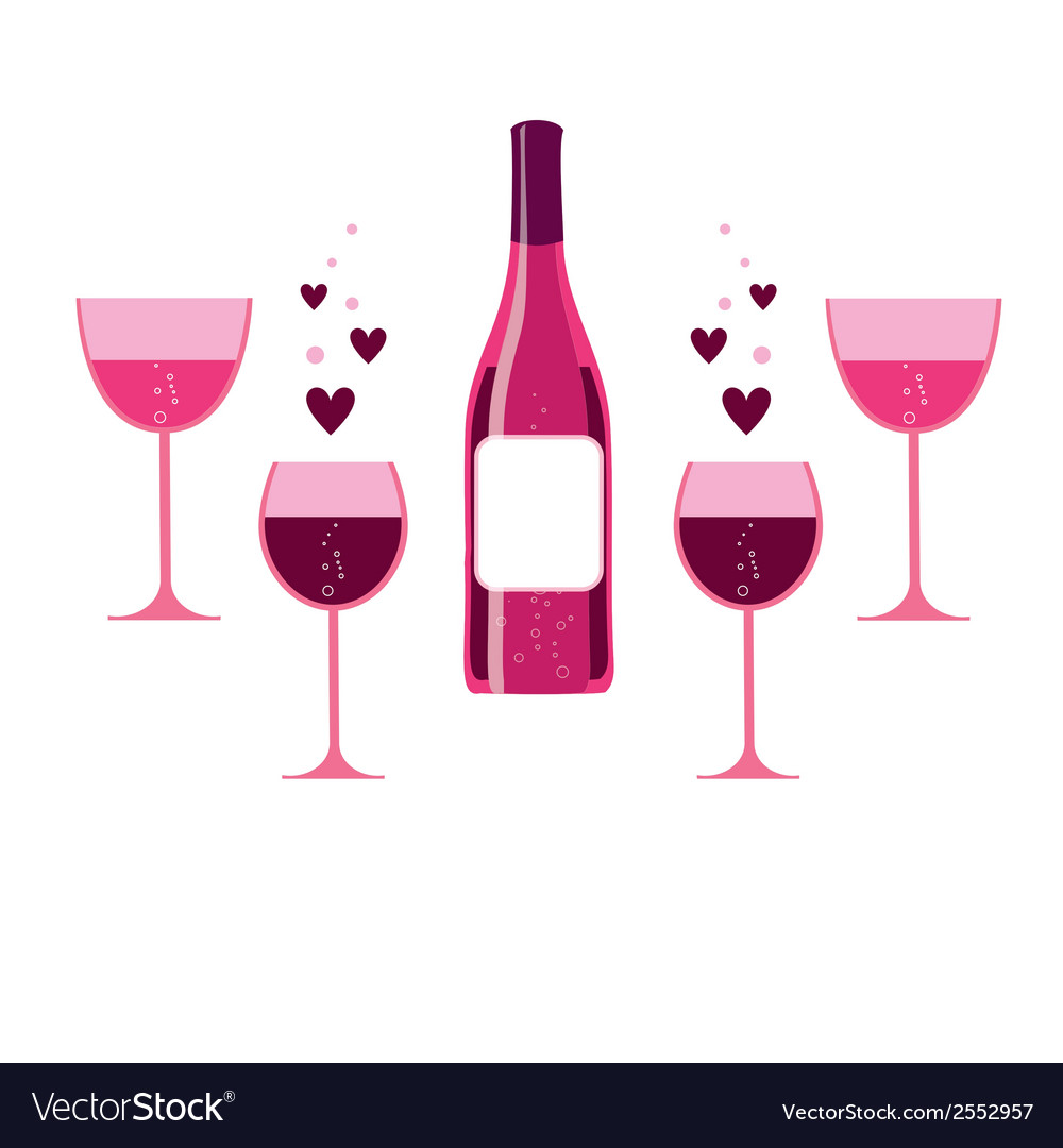 Pink wine glasses and bottle vector | Price: 1 Credit (USD $1)