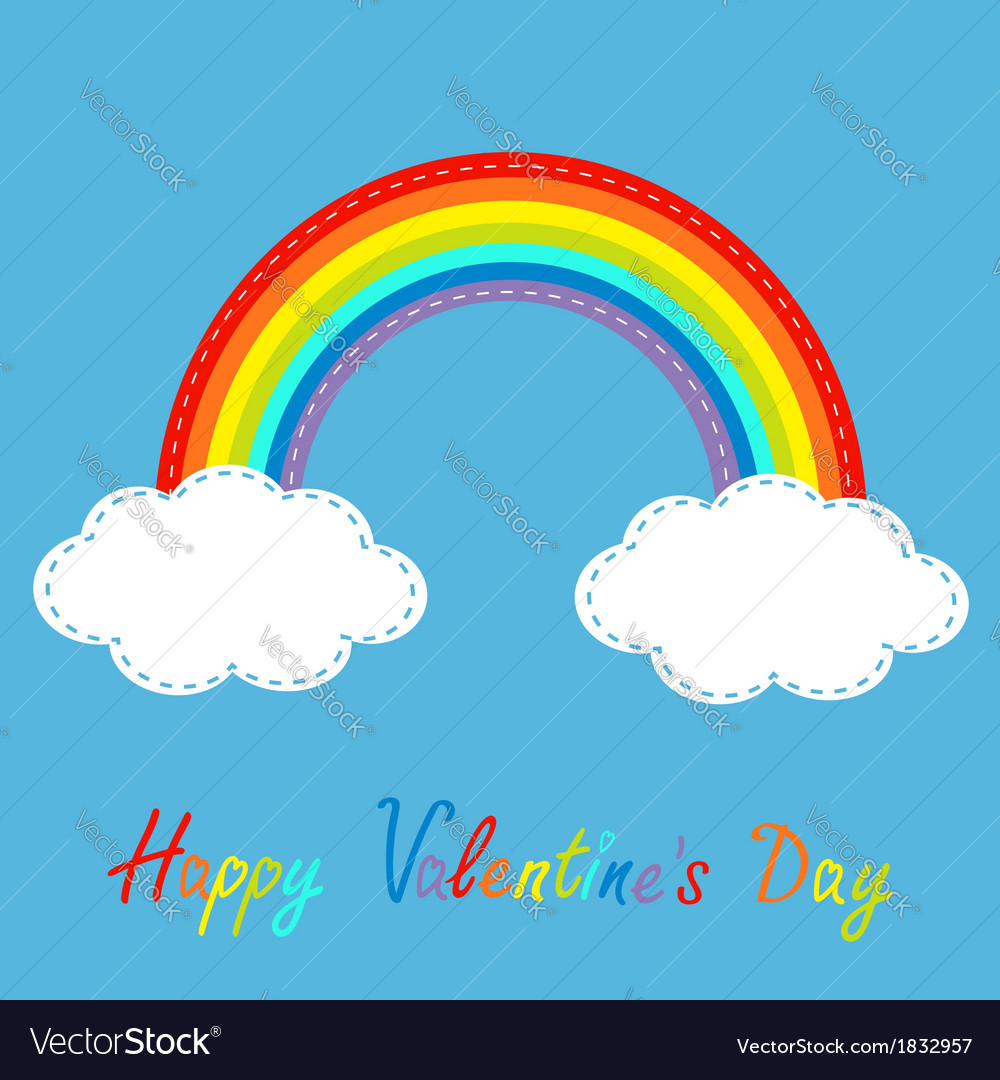 Rainbow in the sky dash line happy valentines day vector | Price: 1 Credit (USD $1)