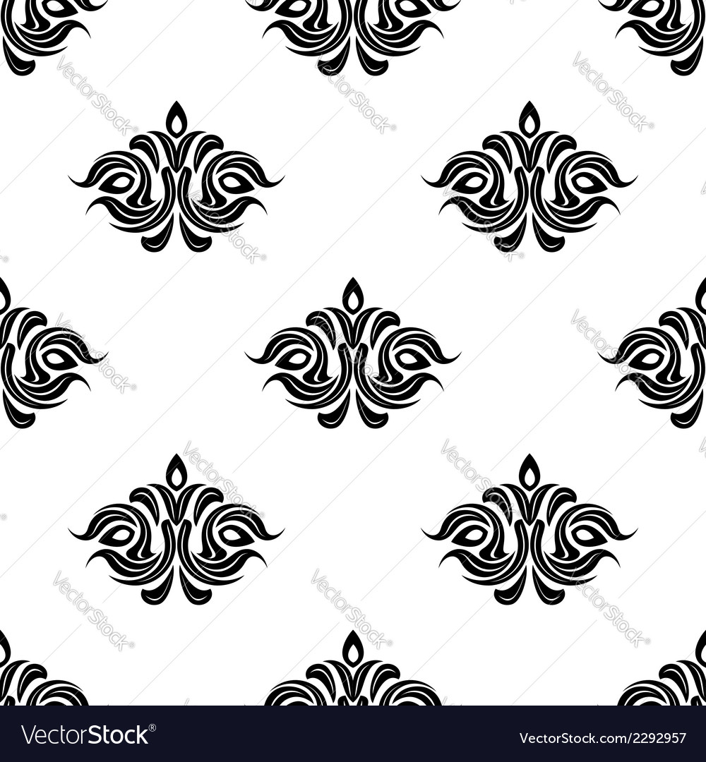 Seamless floral pattern with black flowers vector | Price: 1 Credit (USD $1)