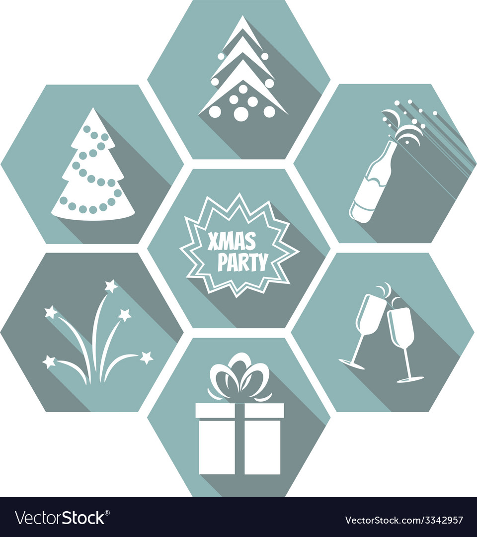 Set of flat simple christmas elements vector | Price: 1 Credit (USD $1)