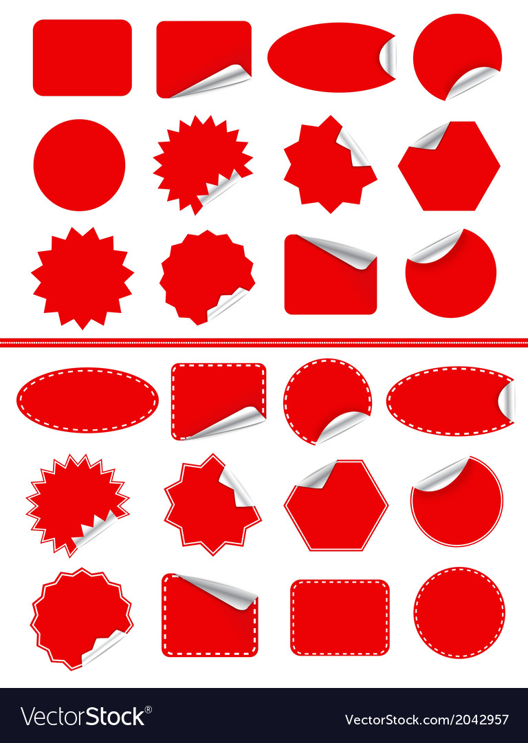 Sticker label set red sticky isolated on white vector | Price: 1 Credit (USD $1)