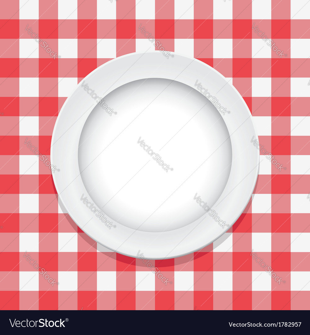 Tablecloth and empty plate vector   Price: 1 Credit (USD $1)