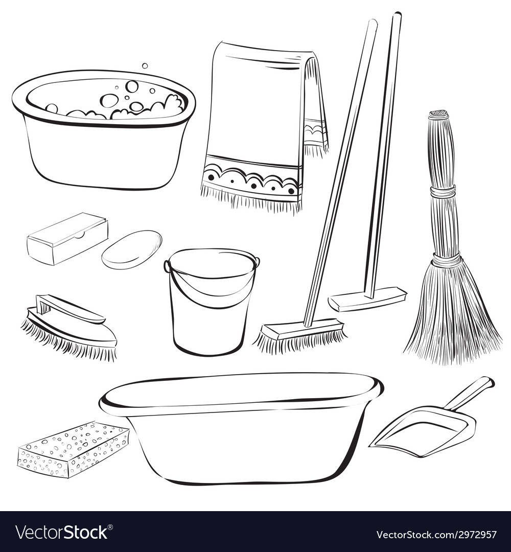 Tools with things for cleaning and wash vector | Price: 1 Credit (USD $1)