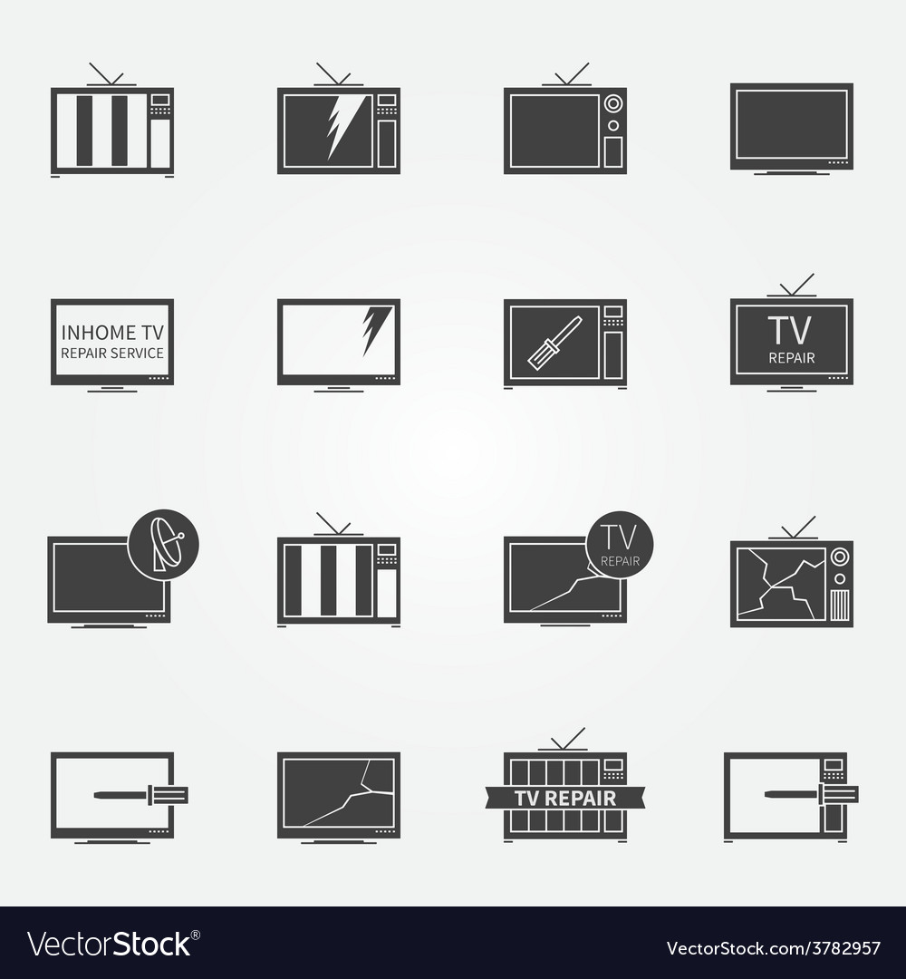 Tv repair or service icons set vector | Price: 1 Credit (USD $1)