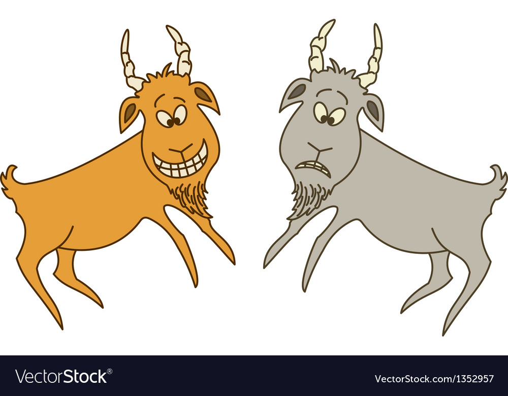 Two goats cheerful and sad vector | Price: 1 Credit (USD $1)