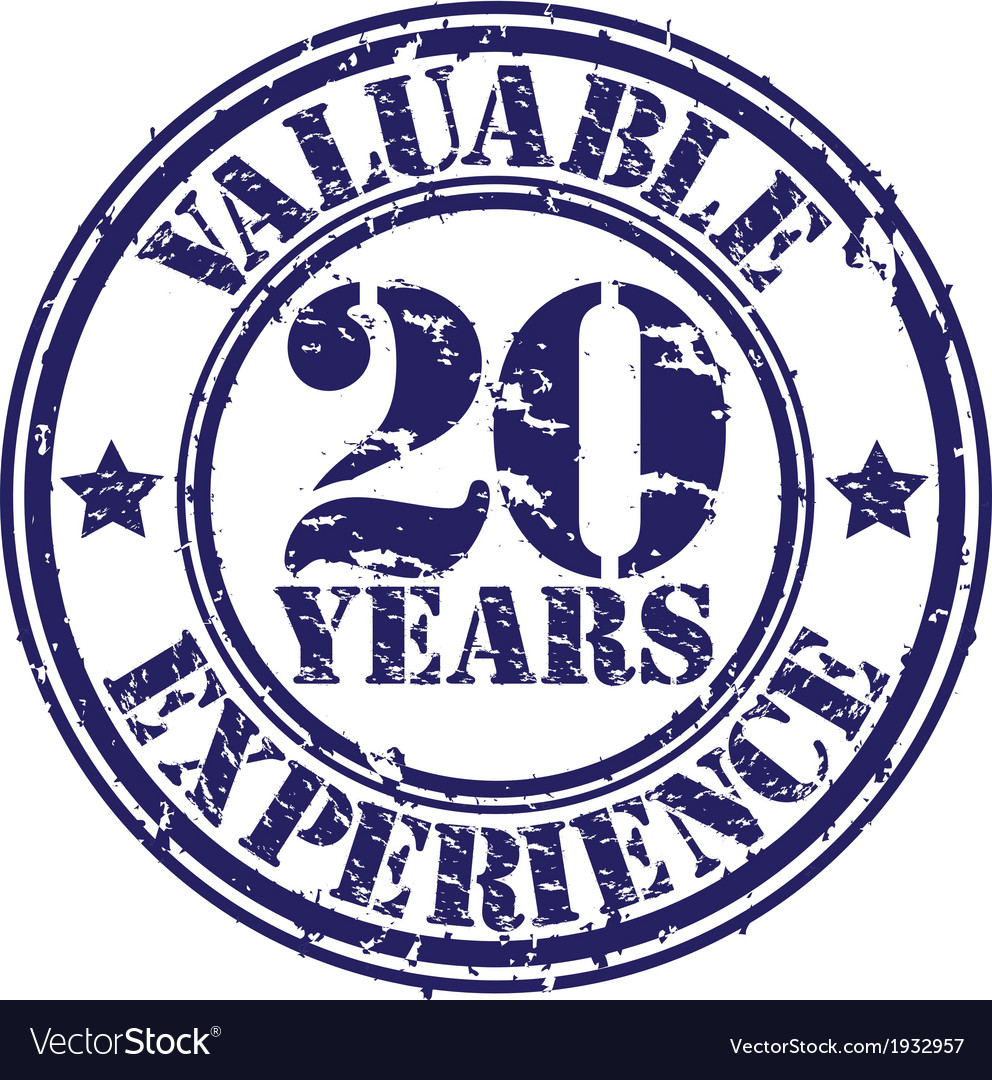 Valuable 20 years of experience rubber stamp vect vector | Price: 1 Credit (USD $1)