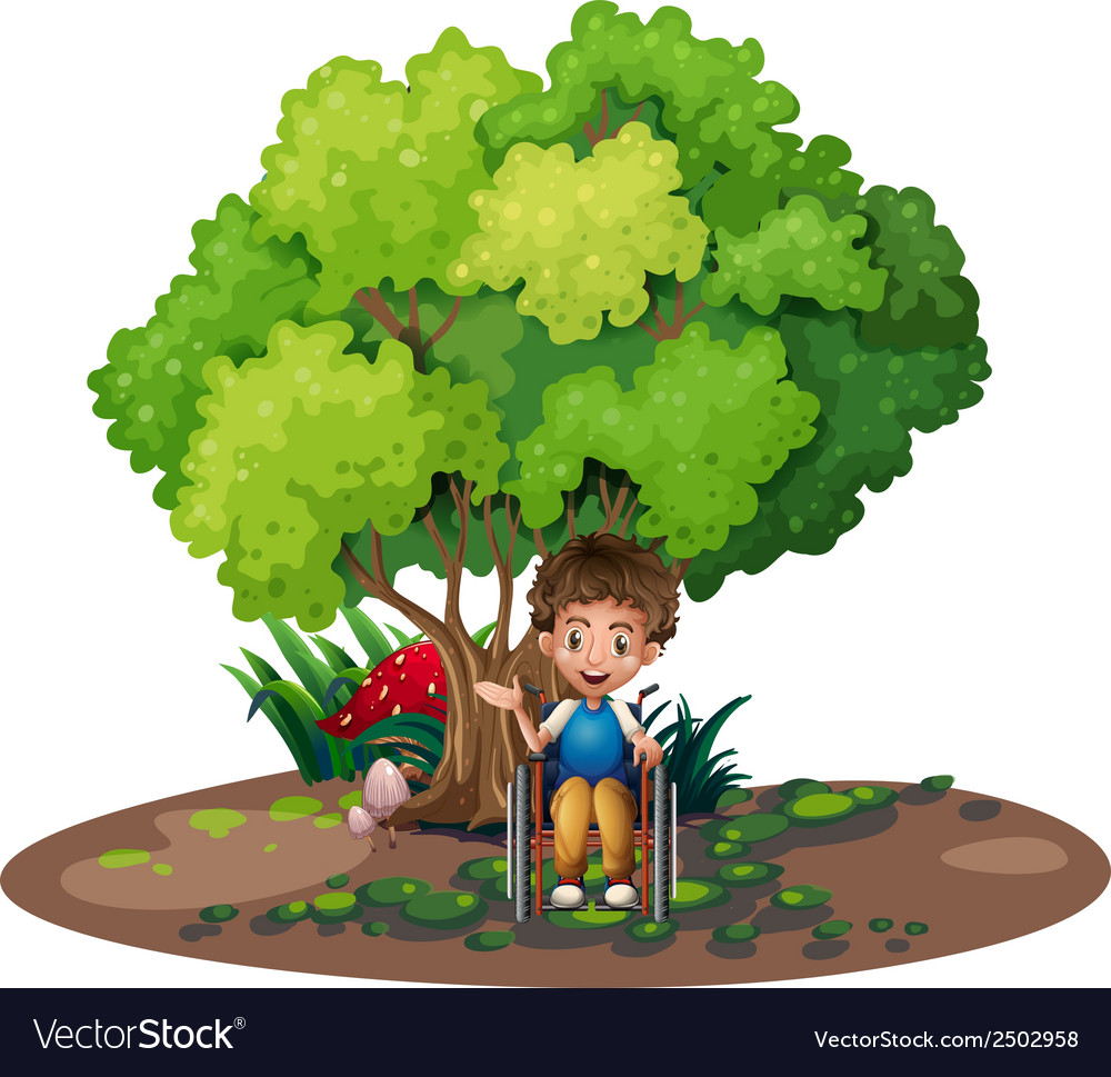 A boy with a wheelchair near the tree vector | Price: 1 Credit (USD $1)