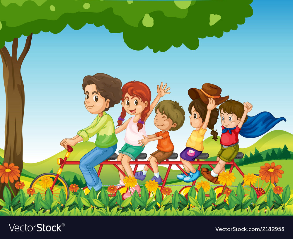 A happy family biking vector | Price: 1 Credit (USD $1)