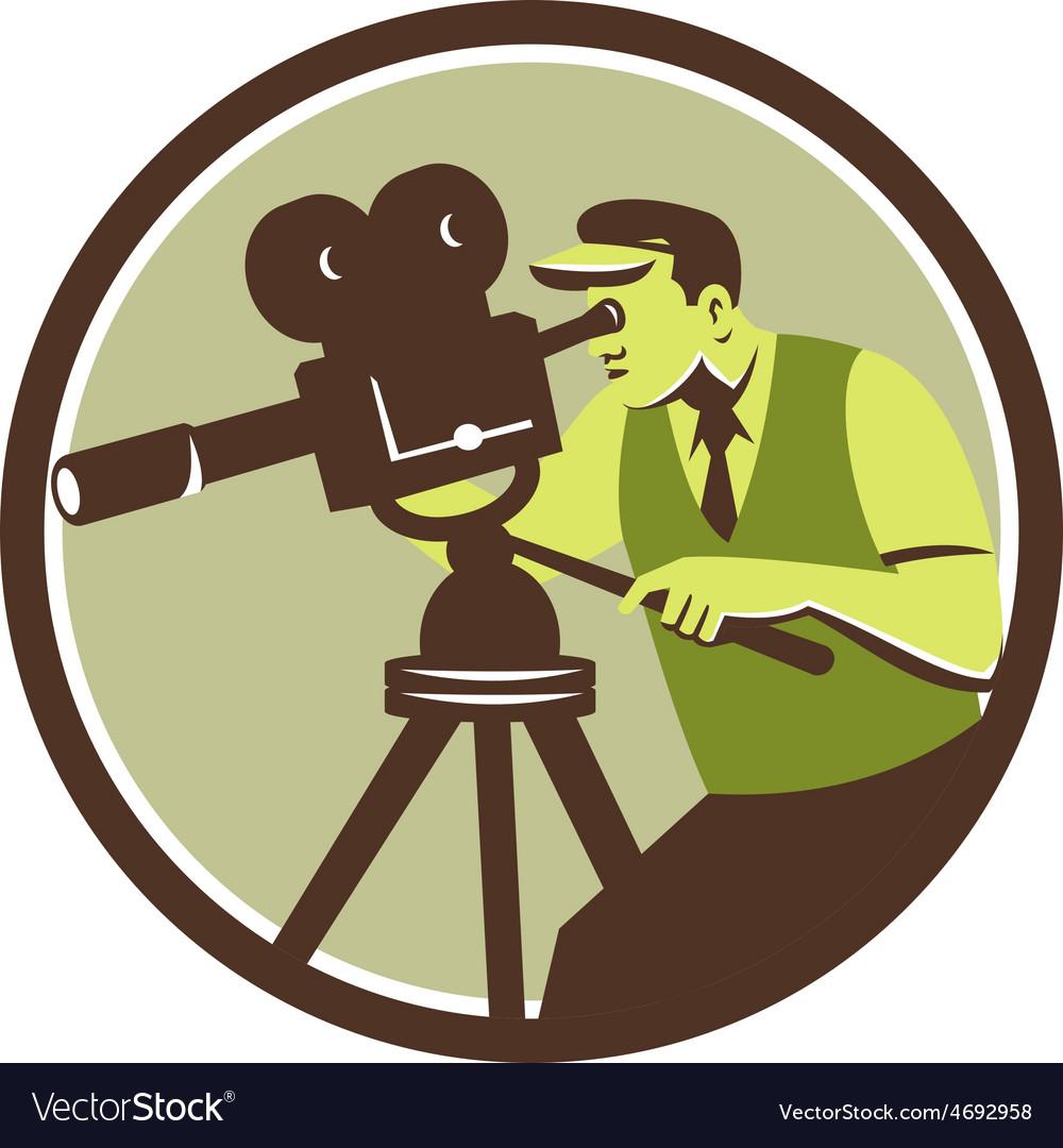 Cameraman director vintage camera retro vector   Price: 1 Credit (USD $1)