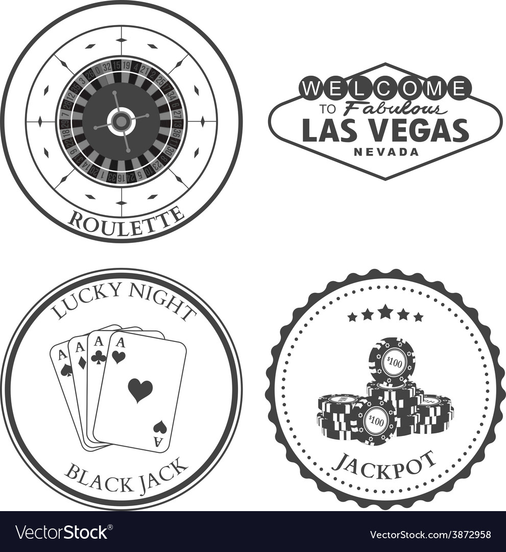 Casino roulette design elements and badges set vector | Price: 1 Credit (USD $1)