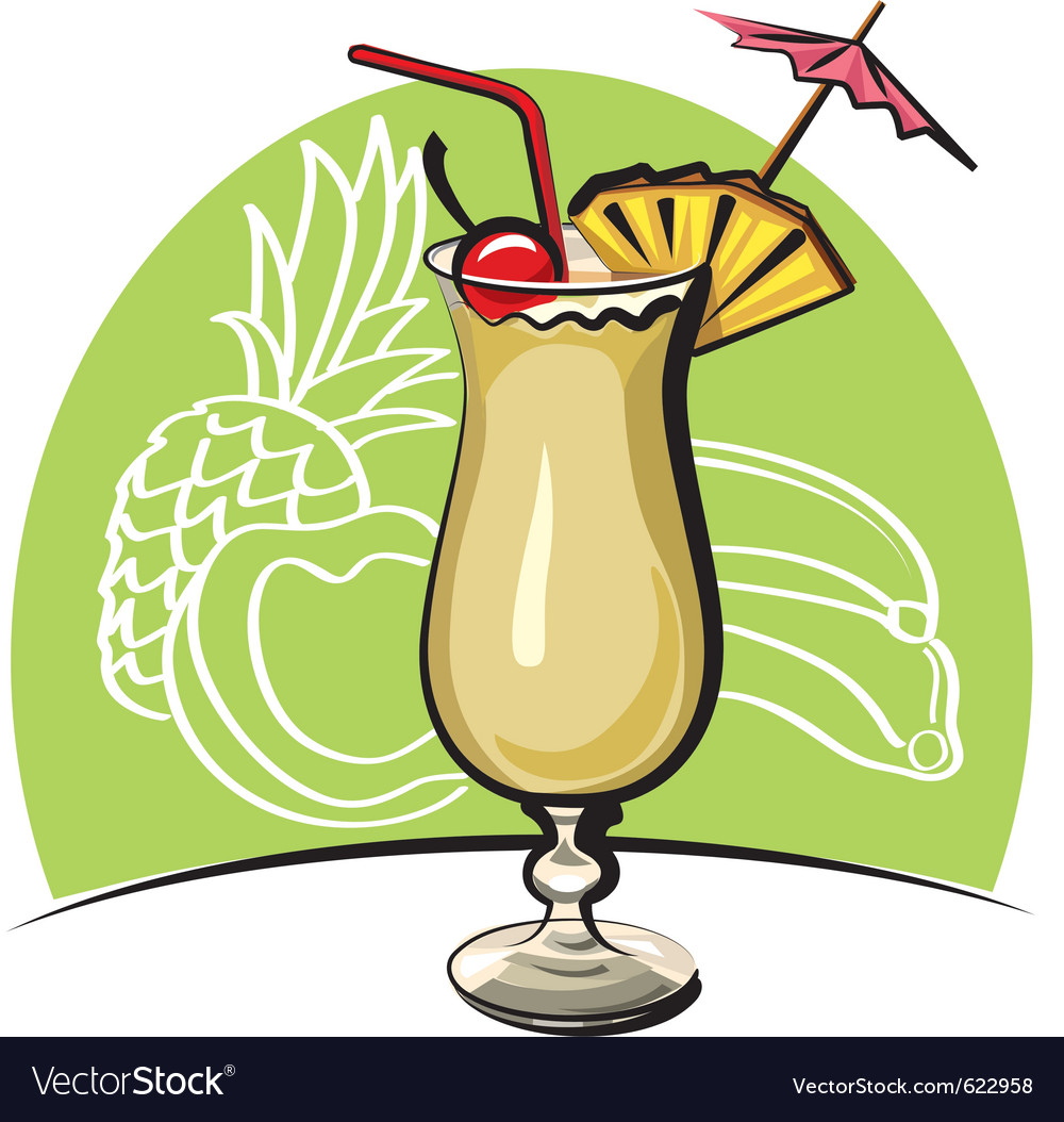 Cocktail pina colada vector | Price: 3 Credit (USD $3)