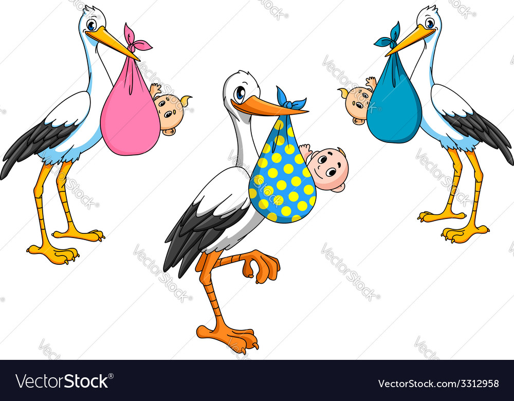 Cute cartoon storks carrying babies vector | Price: 1 Credit (USD $1)