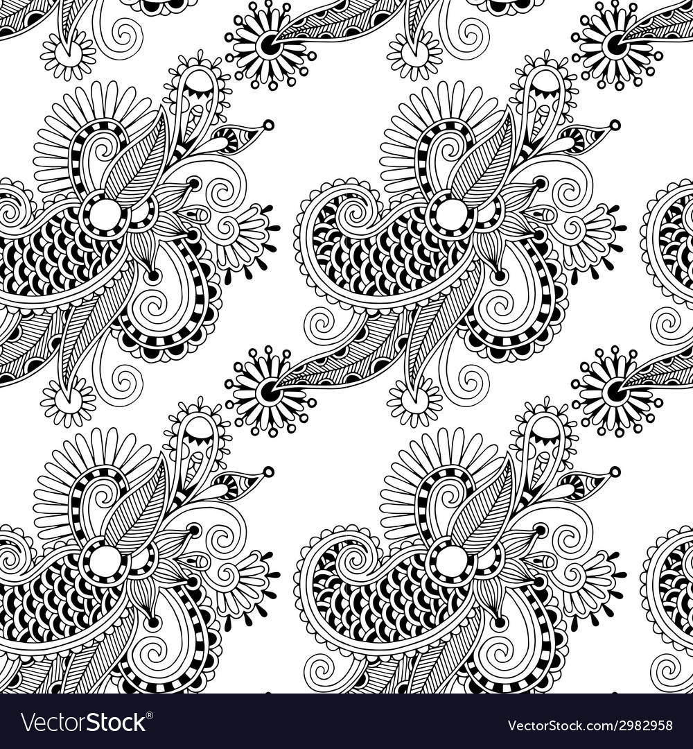 Digital drawing black and white ornate seamless vector | Price: 1 Credit (USD $1)