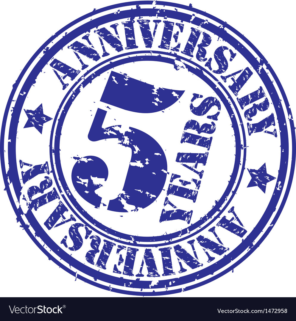 Grunge 5 years anniversary rubber stamp vector | Price: 1 Credit (USD $1)