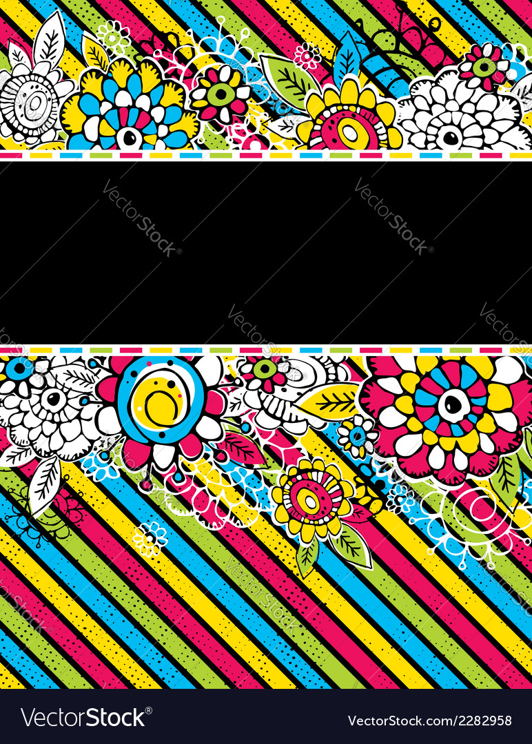 Hand draw flowers on color diagonal stripe on blac vector | Price: 1 Credit (USD $1)