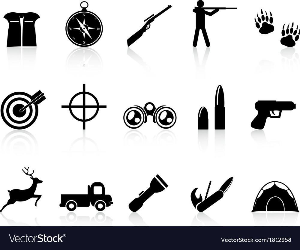 Hunting icons set vector | Price: 1 Credit (USD $1)
