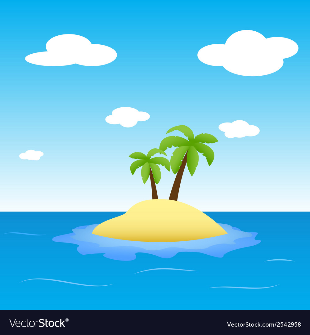 Island in the ocean with two palms vector | Price: 1 Credit (USD $1)