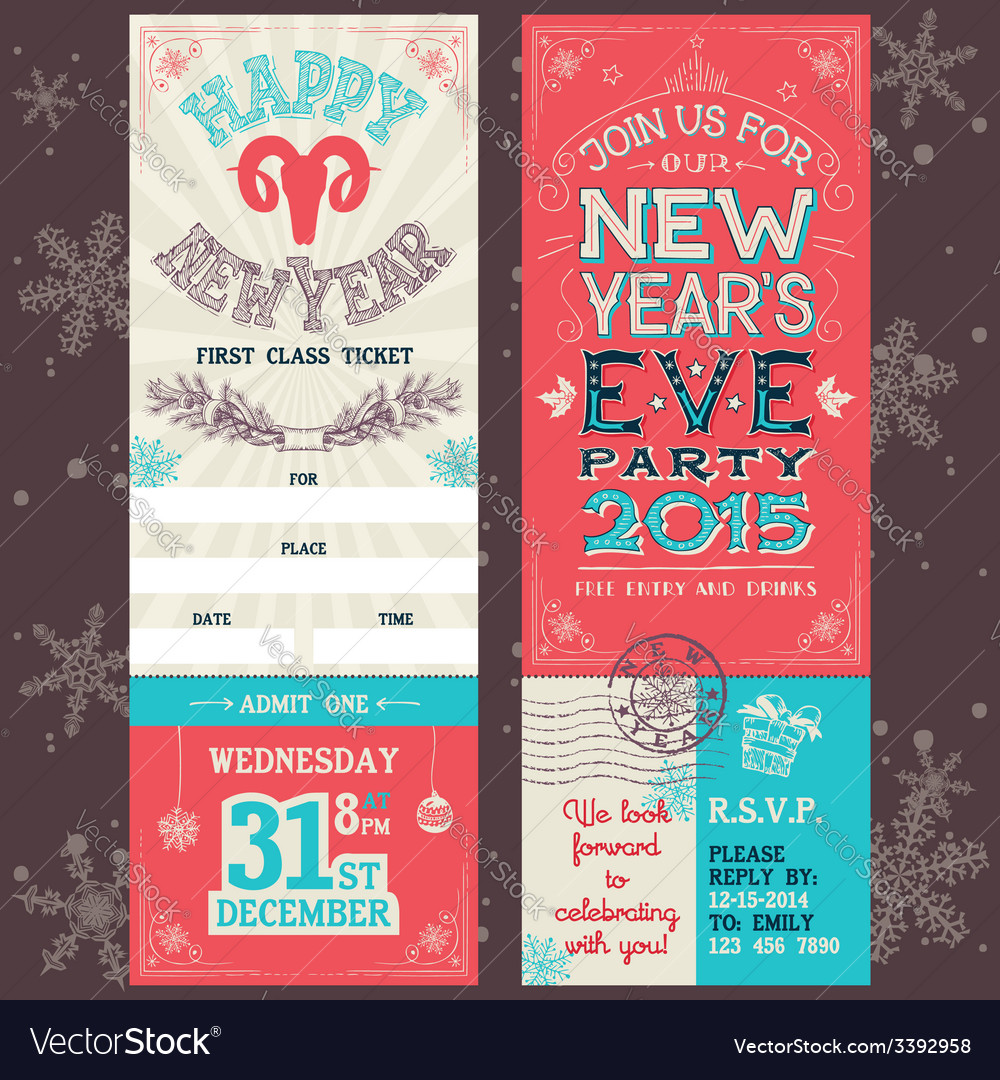 New years eve party invitation ticket vector | Price: 1 Credit (USD $1)