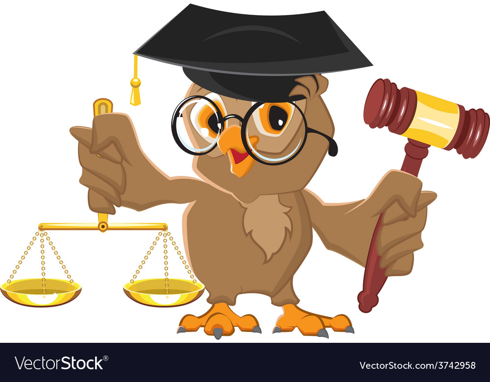 Owl judge holding gavel and scales vector | Price: 1 Credit (USD $1)