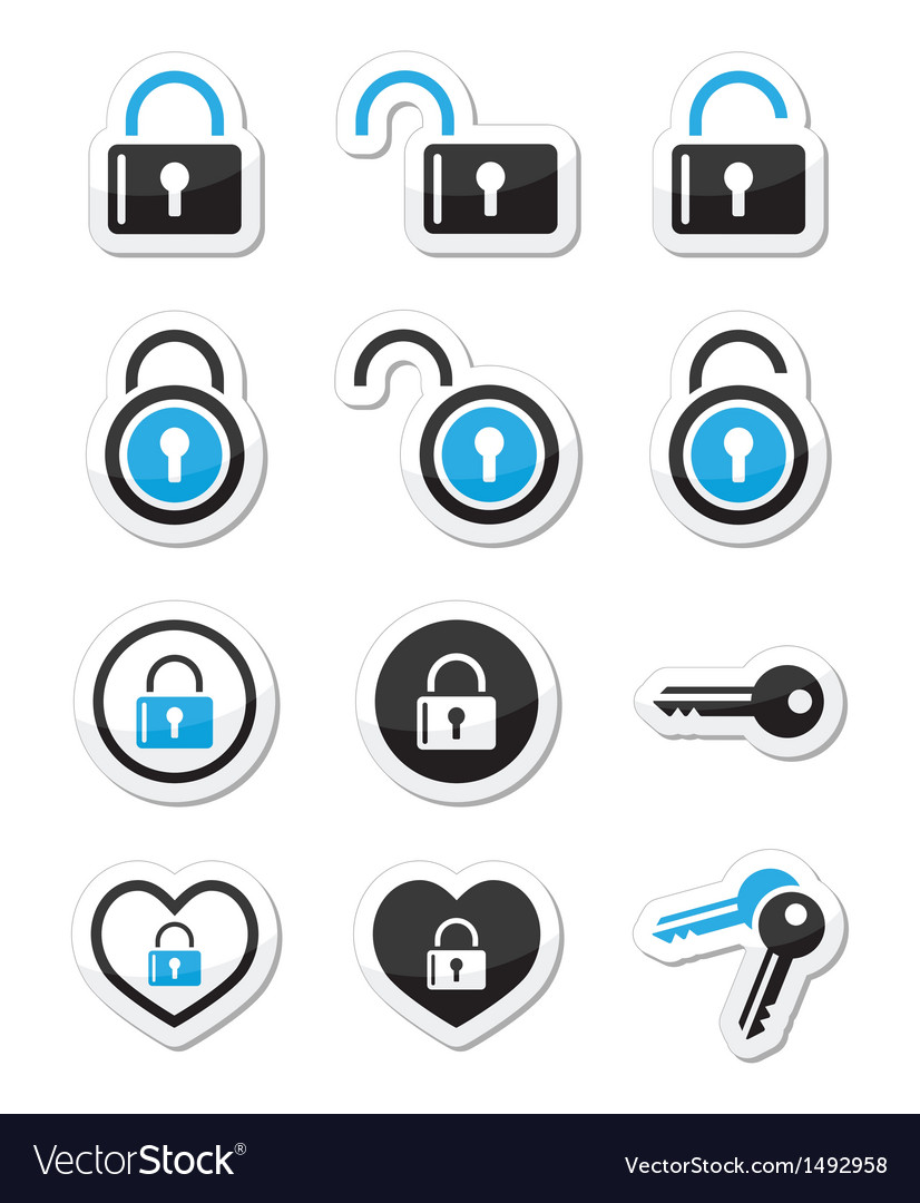 Padlock key account icons set vector | Price: 1 Credit (USD $1)