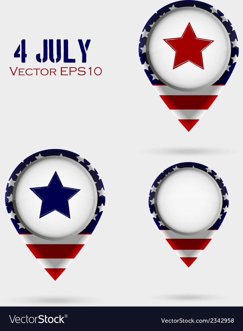 Red map markers 4 july theme vector | Price: 1 Credit (USD $1)