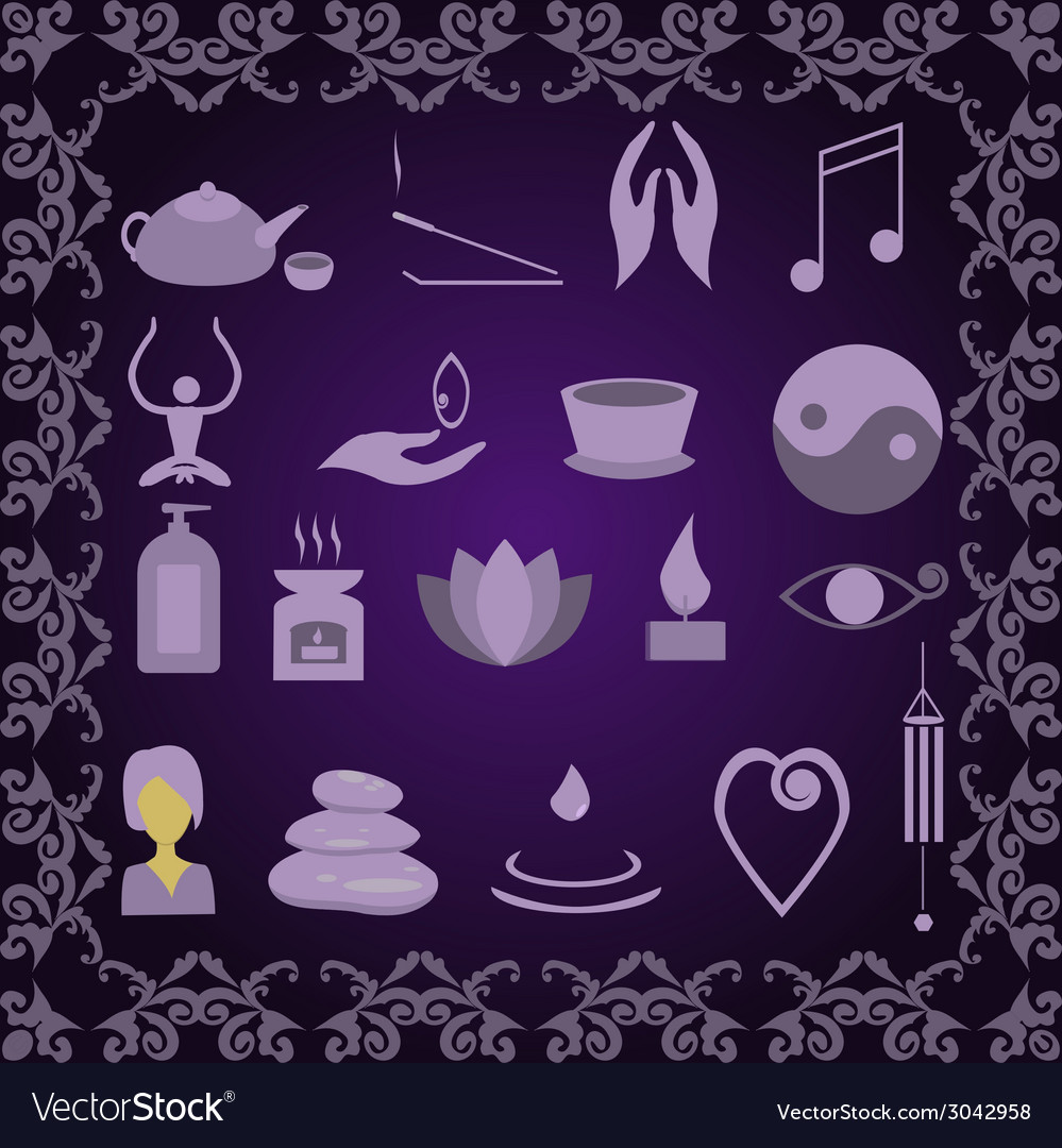 Set of icons meditation vector | Price: 1 Credit (USD $1)