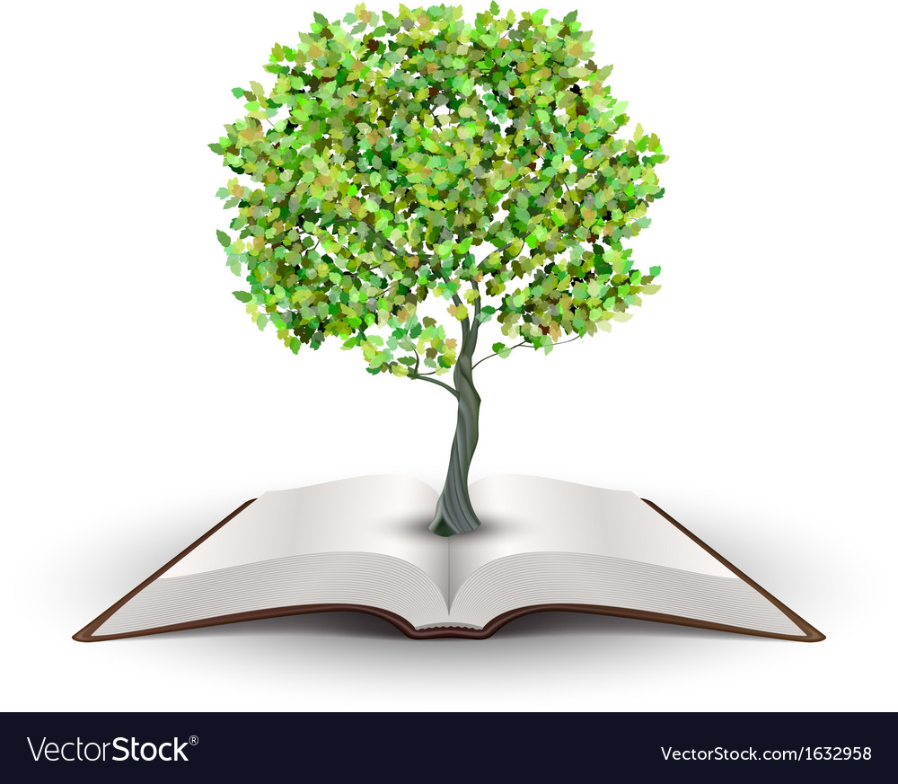 Tree on open book vector | Price: 1 Credit (USD $1)