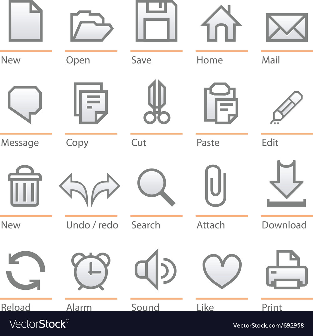 Universal software icon set big size vector | Price: 1 Credit (USD $1)