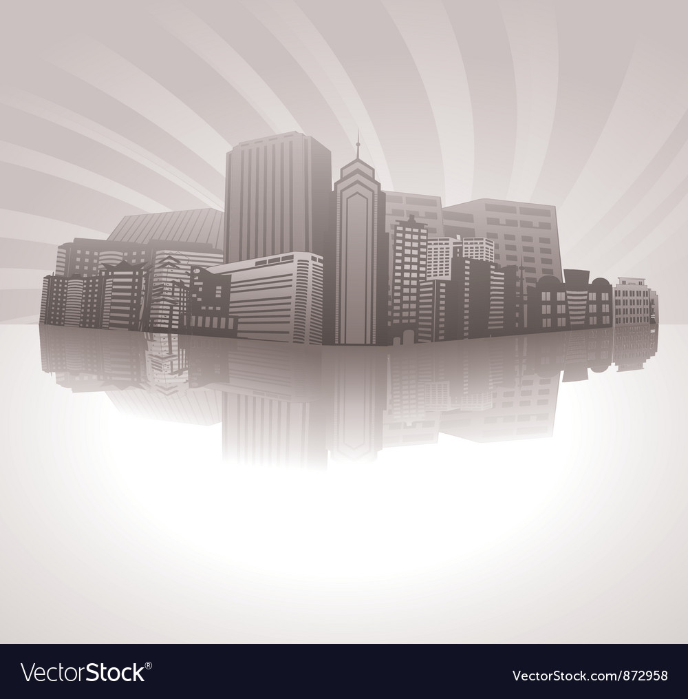 Vintage city background with rays vector | Price: 1 Credit (USD $1)