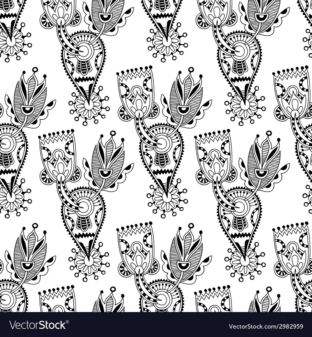 Black and white ornate seamless flower paisley vector   Price: 1 Credit (USD $1)