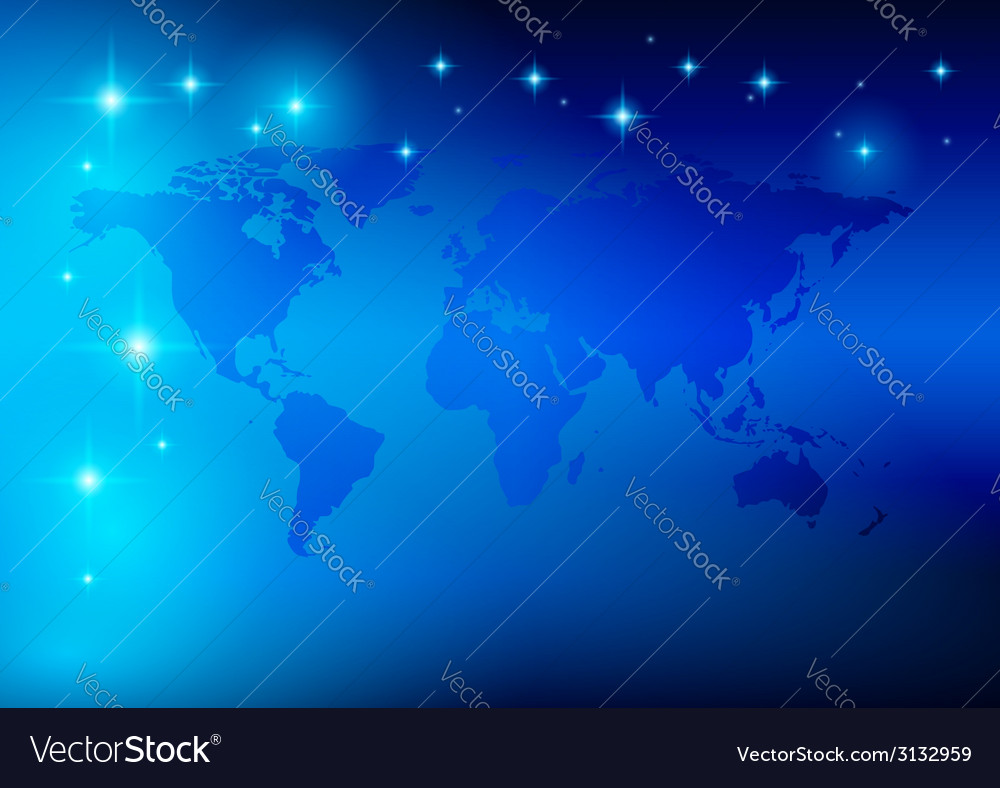 Bright blue background - world map with stars vector | Price: 1 Credit (USD $1)