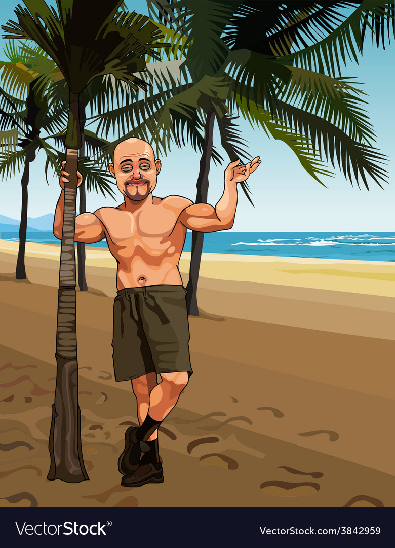Cartoon smiling bald man in shorts on a sandy vector | Price: 3 Credit (USD $3)