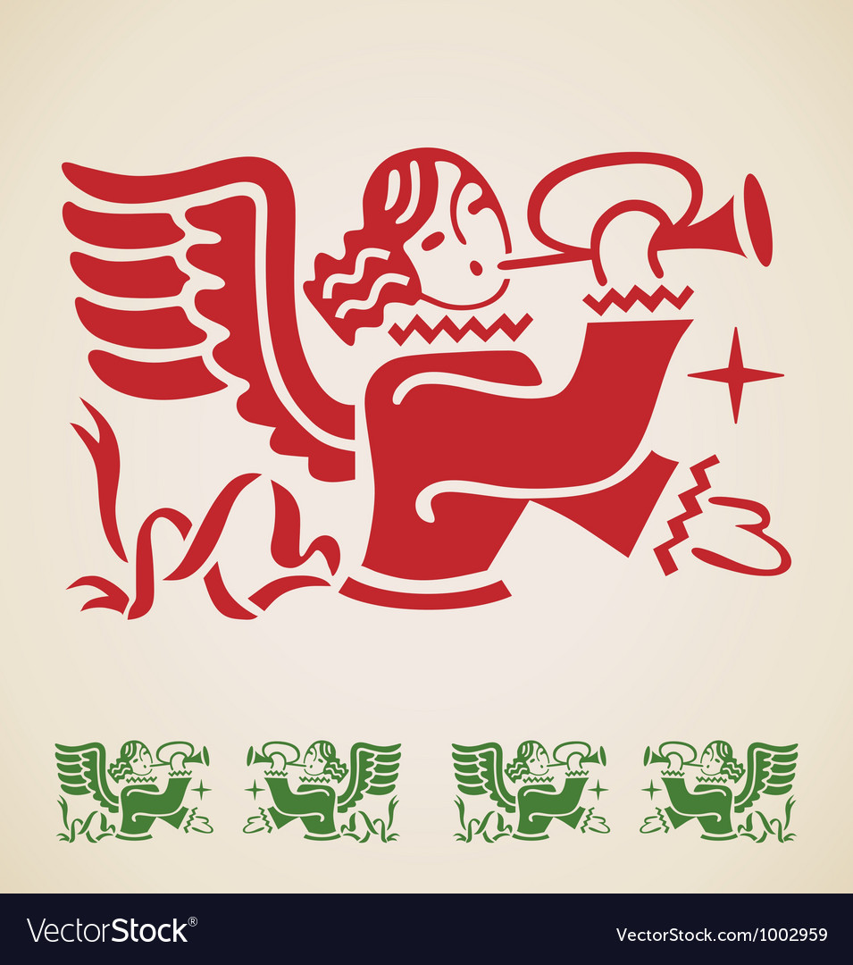 Christmas angel vintage design element vector | Price: 1 Credit (USD $1)