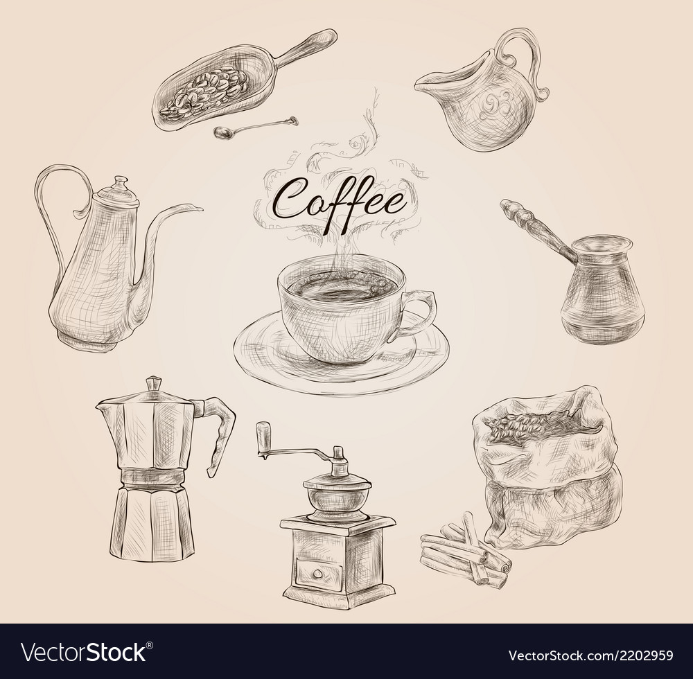 Hand drawn retro coffee set vector | Price: 1 Credit (USD $1)
