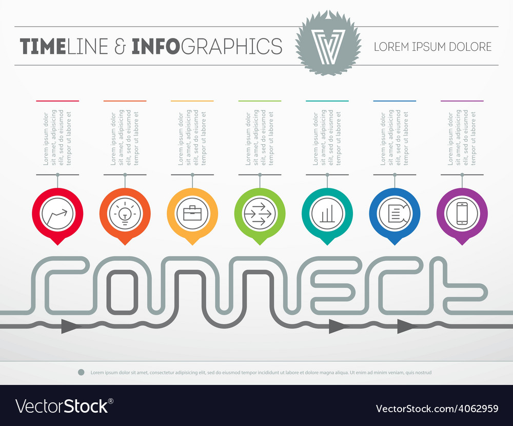 Infographic timeline about connect with seven vector | Price: 1 Credit (USD $1)