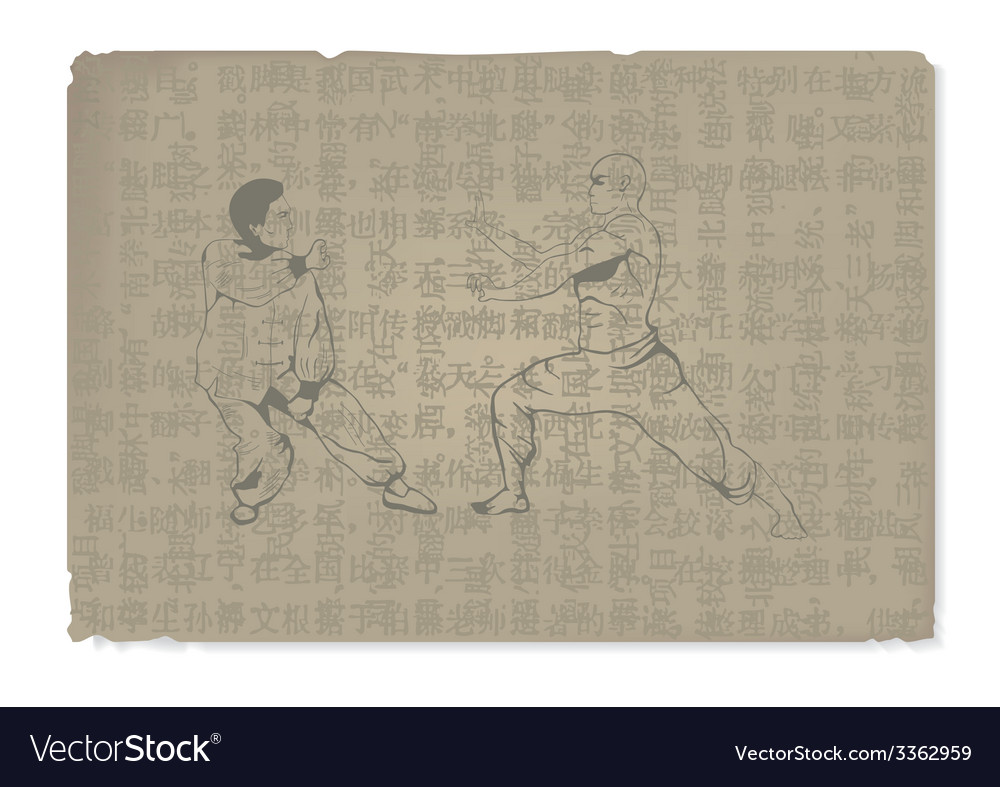 The old two men are engaged in kung fu vector | Price: 1 Credit (USD $1)