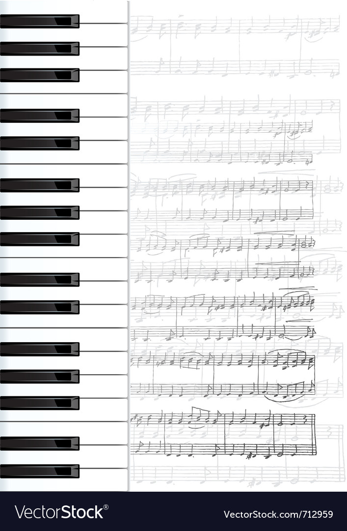 Piano keys and notes background vector | Price: 1 Credit (USD $1)